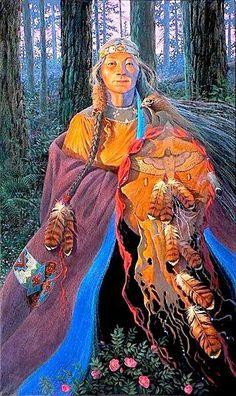By James Ayers artist, painter of Native American portraits. Native American Women, American Indian Art, American Indians, Native Indian, Native Art, Native American Paintings, Sacred Feminine, Goddess Art, Wise Women