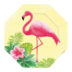 Flamingo Paradise Paper Dessert Plates - - Summer Party Supplies (Pack of Dessert Party, Party Desserts, Dessert Plates, Flamingo Party Supplies, Picknick Set, Pink Bowls, Coconut Cups, Glitter Letters, Support Mural