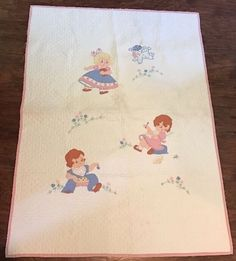 "Vintage 30's 40's Embroidered crib quilt Baby quilt Girl & Boy 33"" X 45.25""  