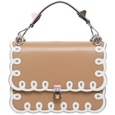 Fendi Women Medium Kan I Embroidered Leather Bag (13,605 SAR) ❤ liked on Polyvore featuring bags, handbags, shoulder bags, light brown, leather shoulder handbags, leather shoulder bag, beige shoulder bag, genuine leather shoulder bag and genuine leather purse