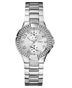 GUESS Watch, Women's Silvertone Mixed Metal Bracelet 36mm U12003L1 - Women's Watches - Jewelry & Watches - Macy's