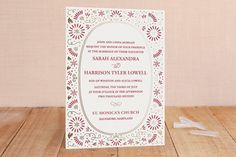 Flora Frame Foil-Pressed Wedding Invitations