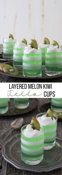 Layered Melon Kiwi Jello Cups - a fun layered jello dessert for Spring or Summer!