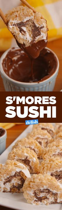 S'mores Sushi exists and we're freaking out. Get the recipe from .S'mores Sushi exists and we're freaking out. Get the recipe from . Birthday Desserts, Köstliche Desserts, Delicious Desserts, Dessert Recipes, Desserts For Birthdays, Creative Desserts, Easy No Bake Desserts, Plated Desserts, Cake Recipes