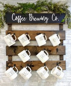 Introducing our new Coffee Mug Rack! Add some cute farmhouse charm to your home or coffee station. This listing is for the coffee rack only. The mugs and greenery are not for sale and only used for photo props. Each rack is handmade and built with the best quality wood. Cut ,