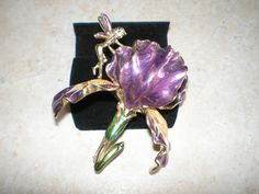 Vintage Kirks Folly Gold Tone and Purple Jewel Wing Fairy and Iris Flower Brooch Pin