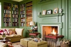 Cozy green library in Shilstone House - restored by Sebastian and Lucy Fenwick, a Georgian house in the heart of the Devon countryside