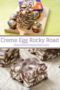 An Easter version of my easy-to-make rocky road recipe featuring Cadbury creme e. An Easter version of my easy-to-make rocky road recipe featuring Cadbury creme eggs. Mini Egg Recipes, Cadbury Creme Egg Recipes, Easy Easter Recipes, Creme Egg Cake, Creme Eggs, Kid Desserts, Dessert Recipes, Mini Eggs Cake, Tiffin Recipe