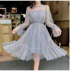 RUGOD New shiny women dress sequined transparent loose a line mesh patchwork elegant solid summer dress korean style kimono Grey Party Dresses, Sequin Prom Dresses, Ball Dresses, Sequin Dress, Dress Party, Mesh Dress, Lace Dress, Dress Long, Grey Short Dresses
