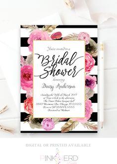Bridal shower invitation, gold glitter invitation, floral bridal shower kate spade inspired - Pink Nerd Printables