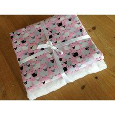 Makower Sheep in pink & white plush