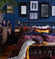 Blue Bedroom, Dream Bedroom, Bedroom Decor Dark, Yellow Bedrooms, Bedroom Artwork, Bedroom Furniture, Bedroom Ideas, Jewel Tone Room, Jewel Tone Living Room Decor