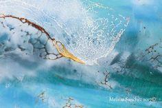 """Blue Wave"" (Detail 1) Encaustic Painting By Melissa Sanchez www.melissasanchez.org (10in By 10in)"