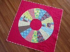 Bright Pink Modern Girl's Baby Quilt by StitchedInColor on Etsy, $165.00