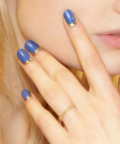 Gareth Pugh's Blue-'n'-Gold Half Moon Nails Diy Nails, Cute Nails, Pretty Nails, Mani Pedi, Manicure And Pedicure, Half Moon Manicure, Beautiful Nail Designs, Simple Nails, Beauty Nails