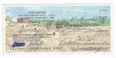 1969 The Doors Check Signed by Jim Morrison's secretary Katherine Lisciandro (Frank Lisciandro's wife)