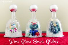 This DIY snow globe craft is a great one for kids. Easily customize the globes & since they are made with plastic wine glasses, they won't break the bank!