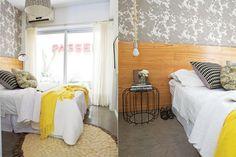 Sobre la pared de la cama, papel vinílico lavable 'Copenhagen' ($780 los 4,5m2, Picnic). A un lado, lámpara colgante con soga 'CB2' traída de Nueva York y mesita de hierro.  /Javier Picerno