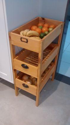 How about this process for a fantastic idea! Diy Kitchen Storage, Home Decor Kitchen, Kitchen Interior, Home Kitchens, Kitchen Design, Wood Pallet Furniture, Home Decor Furniture, Kitchen Furniture, Furniture Design