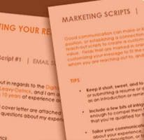 Customizable Email Marketing Scripts for reaching out, following up, and networking. These 15  communications templates help you craft an effective email or outreach letter for a better response rate.  |  Brooklyn Resume Studio