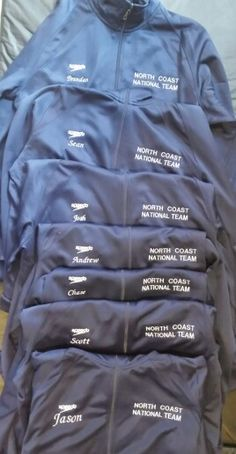 Personalized speedo jackets for the National qualifying swimmers.