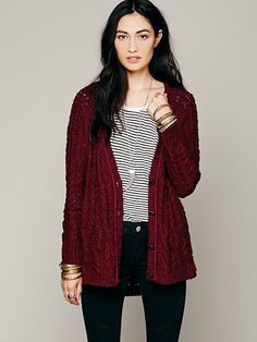 Free People Cable Cardigan, $128.00 omg thick cardigan!