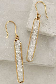 Herkimer Matchstick Earrings by Roost # jewelry design Wire Earrings, Wire Jewelry, Jewelry Crafts, Beaded Jewelry, Handmade Jewelry, Jewellery Earrings, Earrings Handmade, Drop Earrings, Diy Crystal Earrings