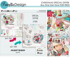 SPECIAL OFFER! 2 bundles for 1 unique price! #fanettedesign #pbp #holidayseason #digitalscrapbooking