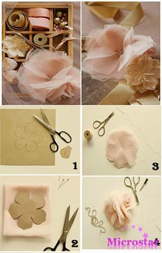 This is a romantice paper flower making idea. This is a romantice paper flower making idea. Easy to make. Hope you guys like it. Organza Flowers, Origami Flowers, Diy Flowers, Fabric Flowers, Flower Ideas, Flower Diy, Ribbon Flower, Wedding Flowers, Flower Paper
