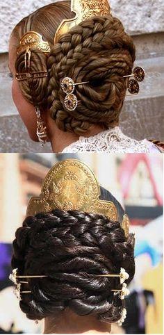Valencia, Spain. Typical hair dressing.
