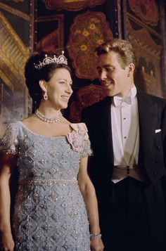 Great Britain's Princess Margaret with husband Earl of Snowdon during the benefit ball for Winston Churchill Memorial Fund on Nov. (AP Photo) via Princesa Margaret, Royal Princess, Princess Style, Princess Margaret Wedding, Elizabeth Ii, Fashion Through The Decades, Margaret Rose, Windsor, Casa Real