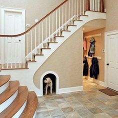 Pet Refuge The space under the staircase can be fashioned into a cozy, custom nook for the favorite family pet.