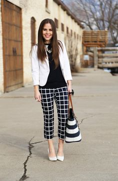 Mixed prints. Windowpane and stripes in black and white.