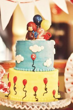 Curious George Birthday Party cake! See more party ideas at CatchMyParty.com!