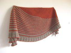 Handmade Knitted Stripes Shawl Unique Shawl Orange di AtelierBusas