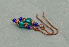 Blue Bayou: Czech glass earrings. by BijoubeadsLondon