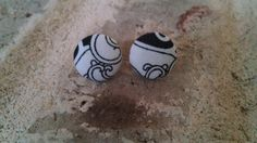 Black and White Patterned Fabric Button Earrings by LaVieBelle, $3.00