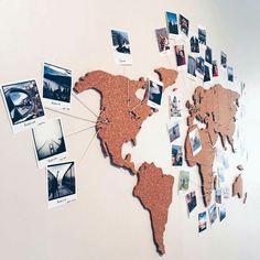 World Map cork board / world map pin board