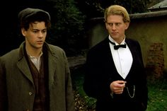 """ladyhuggy: """"Rupert Graves and James Wilby in the 1987 film Maurice based on the EM Forster novel. Lili Elbe, Rupert Graves, The Danish Girl, Transgender People, The Secret History, Historical Costume, Film Stills, Cool Costumes, Movies Showing"""