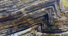 Folds are some of the most common geological phenomena you see in the world – a geological fold occurs when planar (usually sedimentary) l. Belle France, Basque Country, Rock Formations, Natural Phenomena, Science And Nature, Earth Science, Rocks And Minerals, Crystals Minerals, Natural Wonders