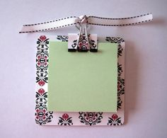 Black, Red and White Damask Like Post It Note Holder Teachers Day Gifts, Teacher Gifts, Printed Post It Notes, Work Purse, Post It Note Holders, Black And White Ribbon, Jw Gifts, Origami, White Damask