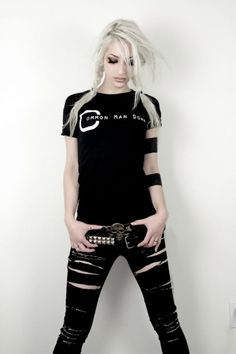 Have some black skinny jeans im gonna do something like this...but i think im gonna cut one leg off into shorts: