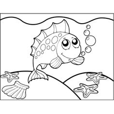 This printable ocean coloring page features a cute, playful fish with a spiky spinal fin. Ocean Coloring Pages, Fish Coloring Page, Printable Coloring Pages, Colorful Seahorse, Colorful Pictures, Snoopy, Play, Colour, Cute