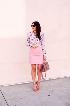 Floral Rebecca Taylor Blouse with Pink Loft Skirt on Kendi Everyday