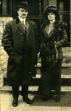 Part of a collection of photos and letters from descendants of Titanic survivors.  John and Nelle Pillsbury Snyder pictured.
