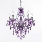 Found it at Wayfair - 5 Light Chandelier purple for my bedroom!