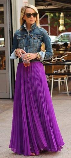 Denim Jacket, Purple Maxi Pleated Skirt | Atlantic Pacific