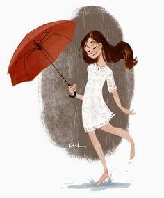 Art of Celine Kim Illustration Tattoo, Cute Illustration, Character Illustration, Celine Kim, Girl Cartoon, Cute Cartoon, Character Design References, Character Art, Umbrella Art