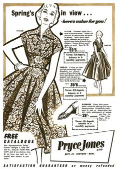 Pryce Jones advertisement, March 1955 (love the floral print dress!)