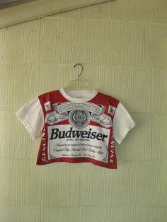 VINTAGE Budweiser t-shirt crop top 80s beer Americana. $62.00, via Etsy.